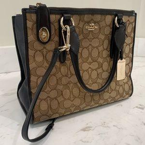 Coach square brown and gold handbag